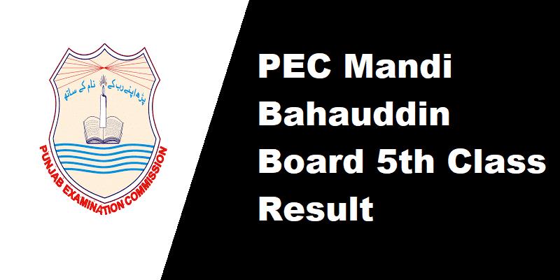 PEC Mandi Bahauddin Board 5th Class Result