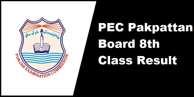PEC Pakpattan Board 8th Class Result